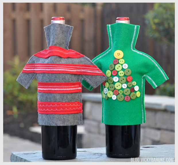 DIY Wine Bottle Holiday Sweaters
