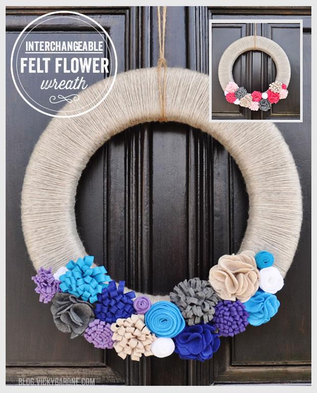 Interchangeable Felt Flower Wreath