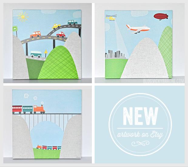 New Artwork on Etsy: Transportation Canvas Wall Art