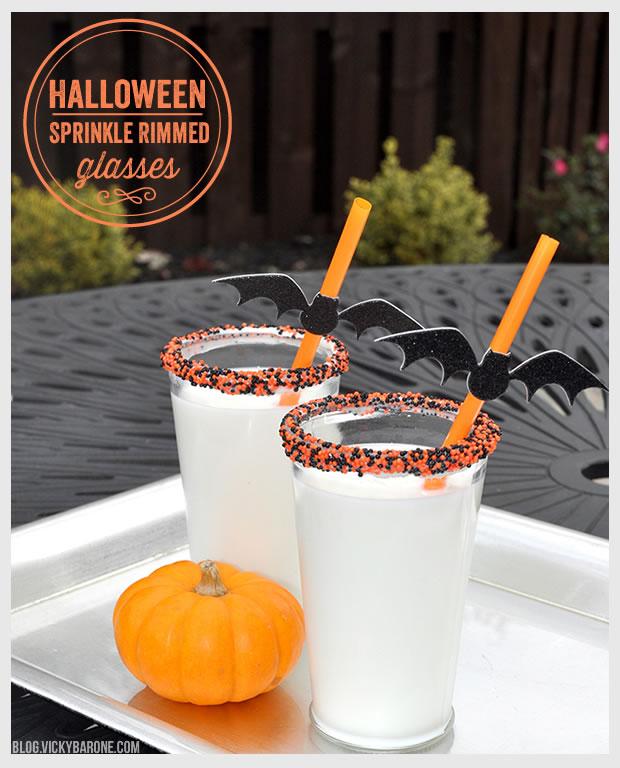 Halloween Sprinkle Rimmed Glasses