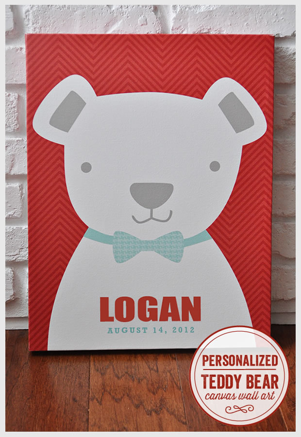Personalized Teddy Bear Canvas Wall Art