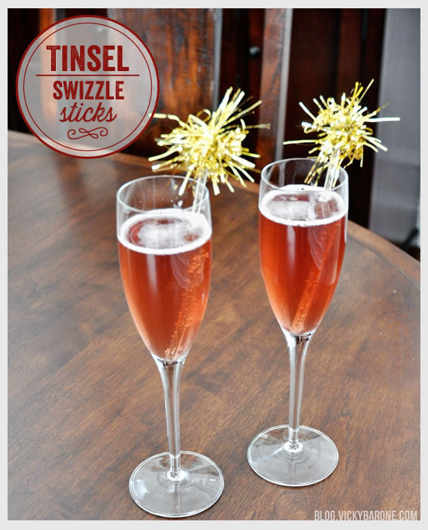 Tinsel Swizzle Sticks and Pomegranate Champagne