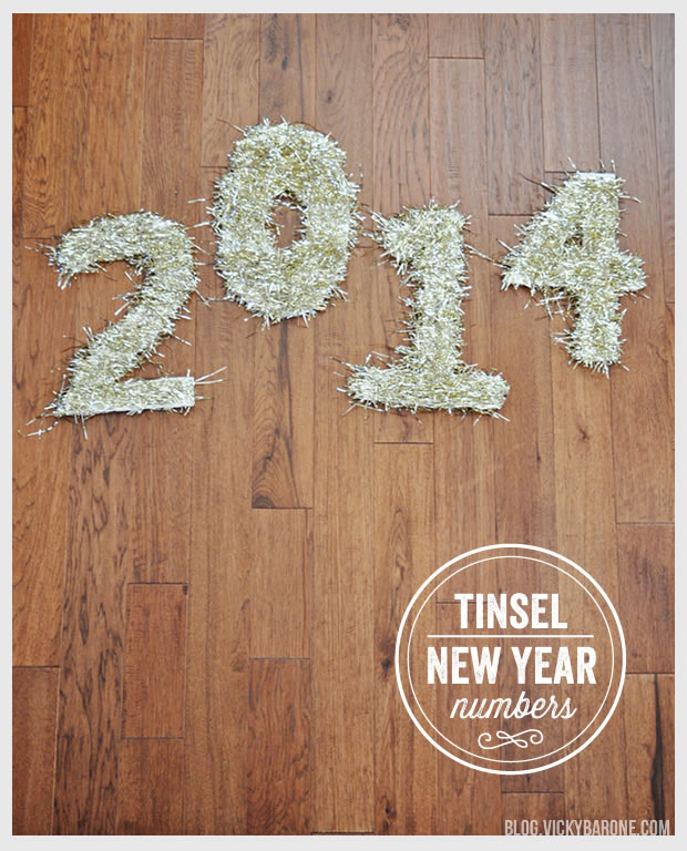 DIY Tinsel New Year Numbers