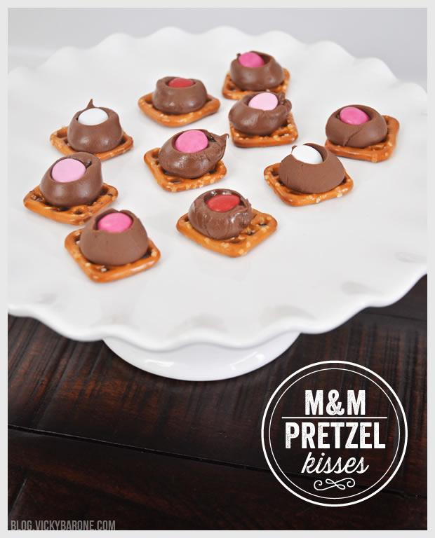 M&M Pretzel Kisses for Valentine's Day