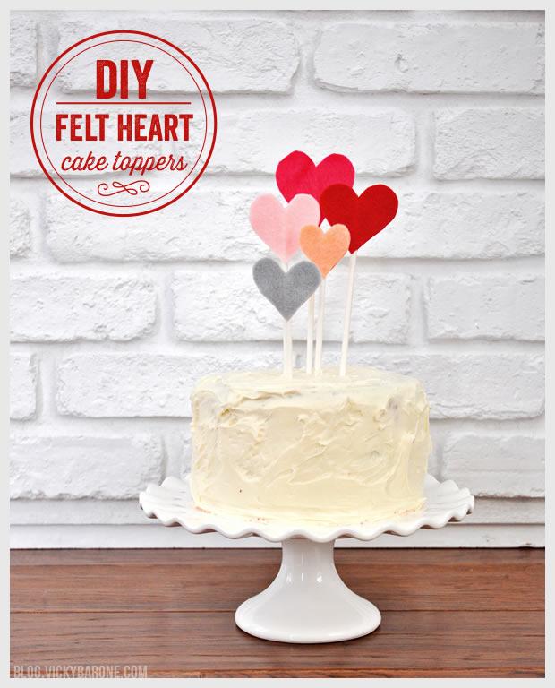 DIY Felt Heart Cake Toppers