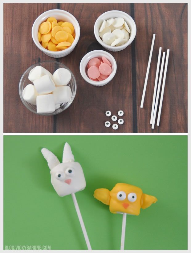 Chick & Bunny Easter Marshmallow Pops | Vicky Barone