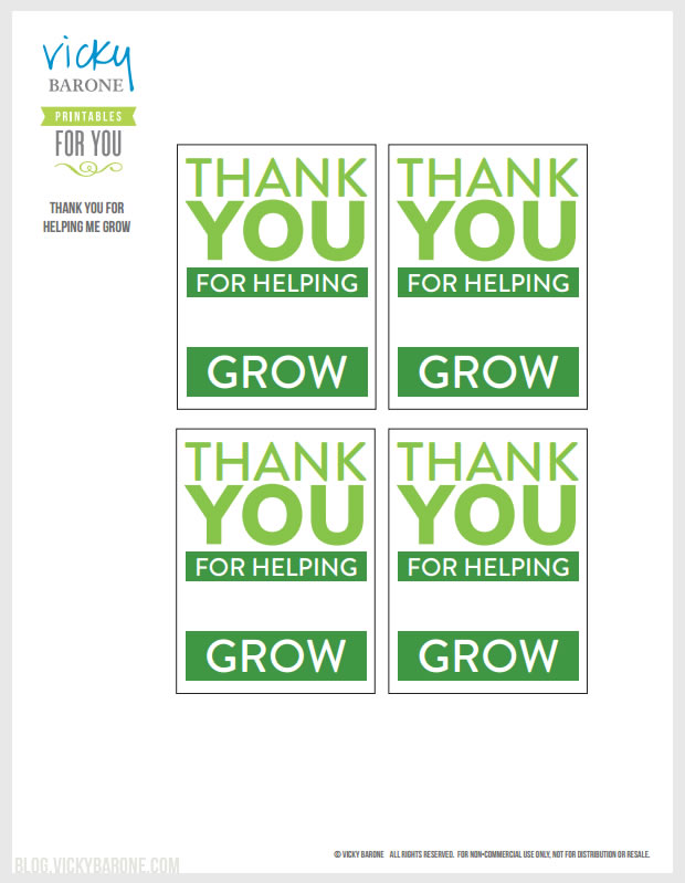Thank You For Helping Me Grow   Free Printable by Vicky Barone