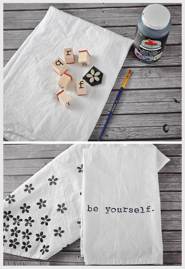 DIY Stamped Tea Towels | Vicky Barone