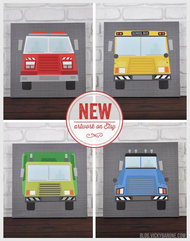 New Artwork on Etsy: Personalized Trucks