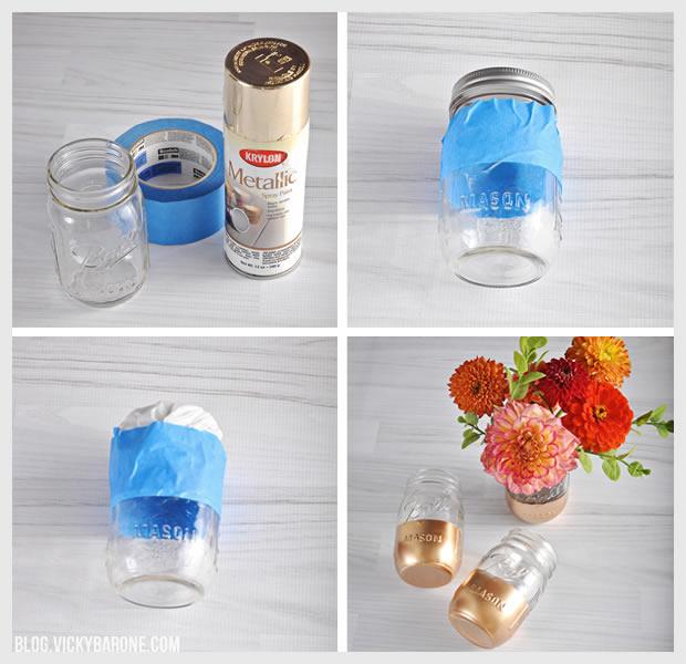 DIY Gold Dipped Mason Jars   Vicky Barone