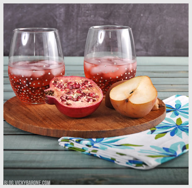 Pomegranate Pear & Ginger Cocktail | Vicky Barone