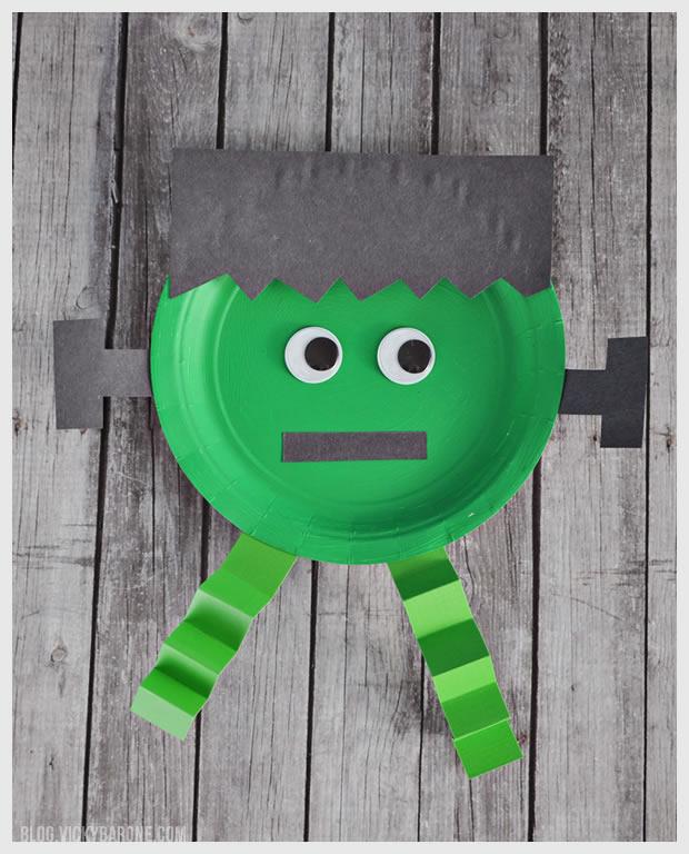 Paper Plate Halloween Frankenstein Craft | Vicky Barone