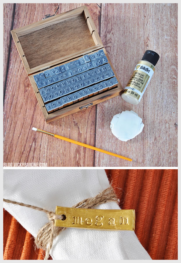 DIY Stamped Clay Name Tags   Vicky Barone