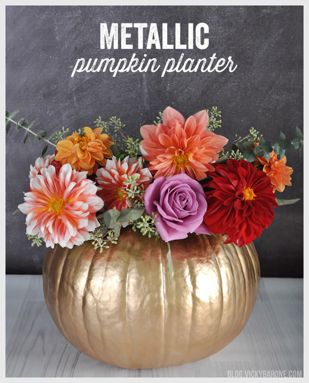 DIY Metallic Pumpkin Planter