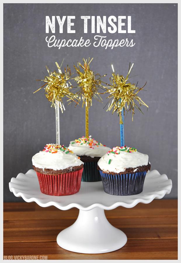 NYE Tinsel Cupcake Toppers