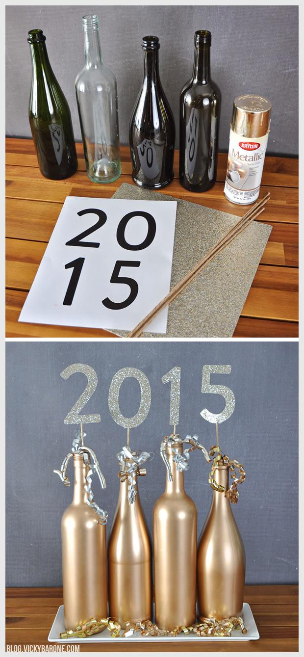 2015 Wine Bottle Centerpiece | New Year's Eve | Vicky Barone