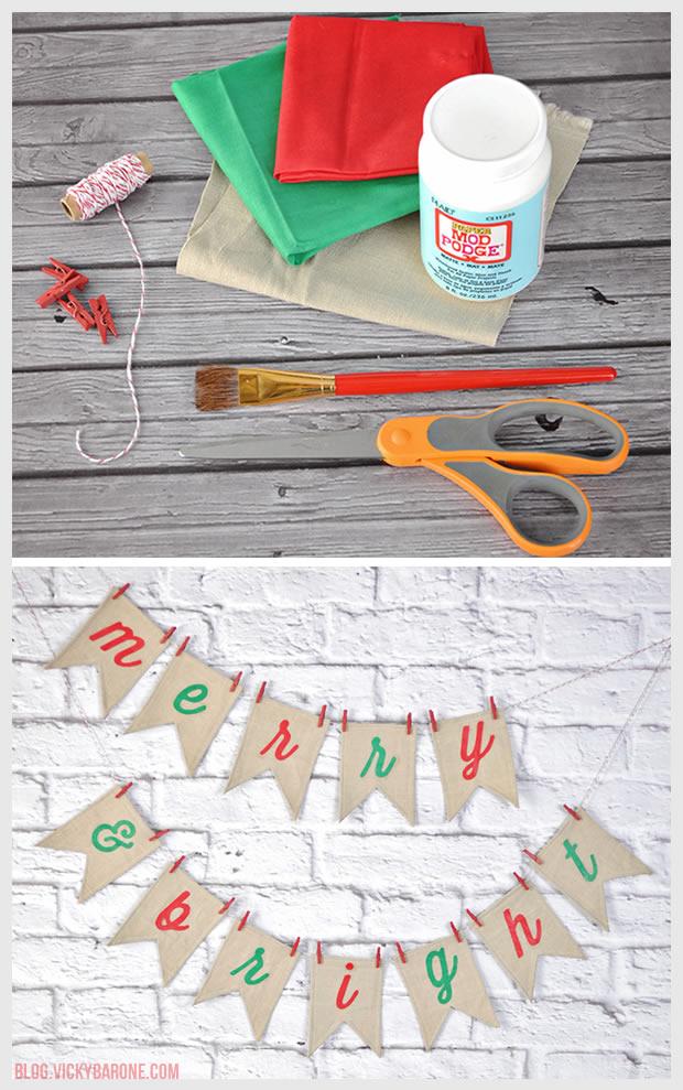 DIY Fabric Christmas Garland | Merry & Bright | Vicky Barone