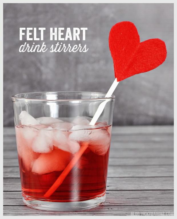 Felt Heart Drink Stirrers