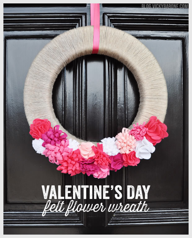 Valentine's Day Felt Flower Wreath