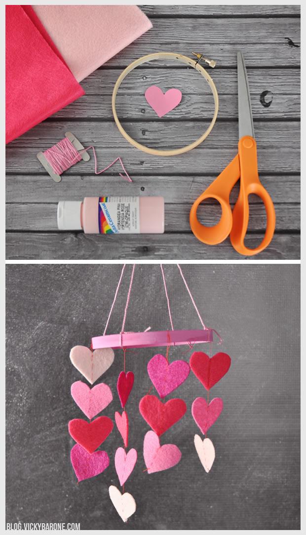 DIY Mini Heart Mobile | Vicky Barone