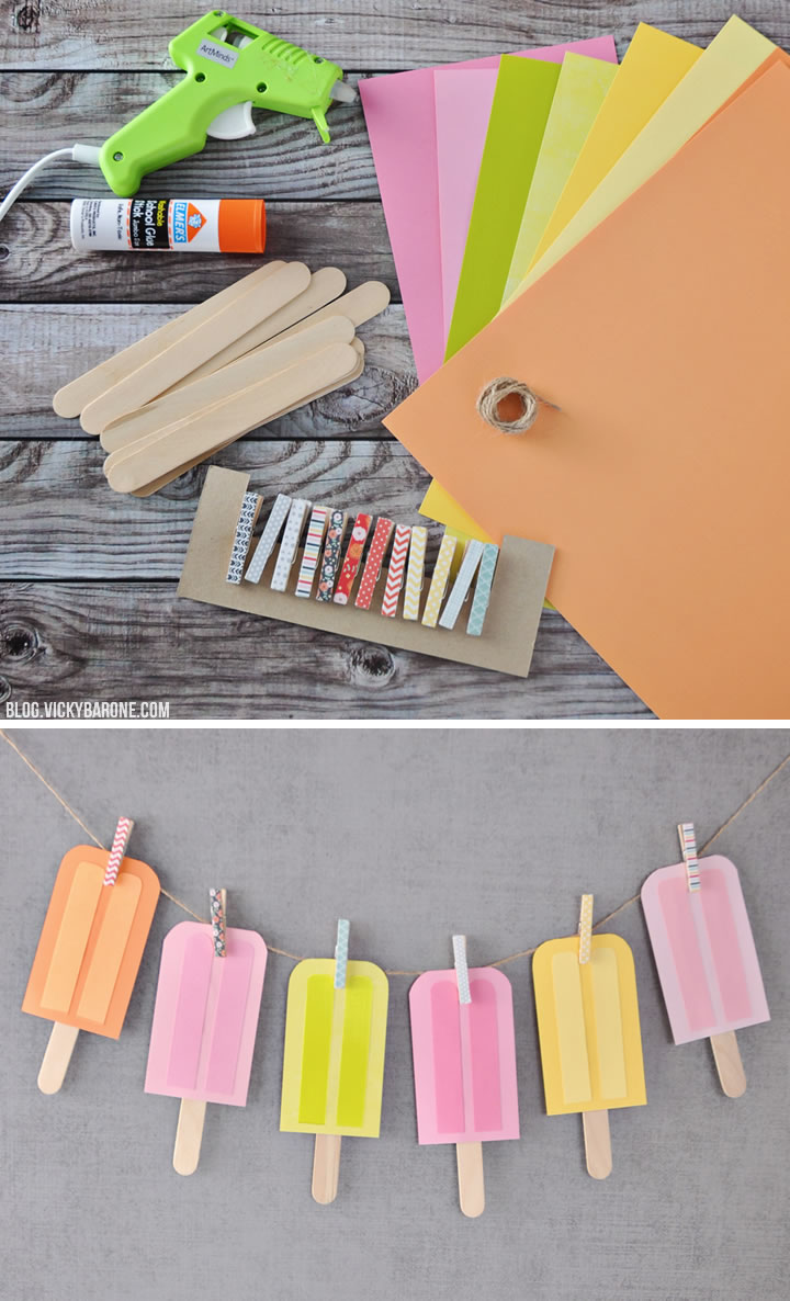 DIY Paper Popsicle Garland   Vicky Barone
