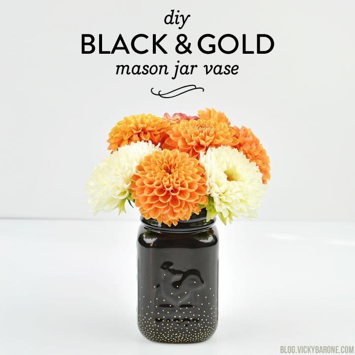 DIY Black & Gold Mason Jar Vase