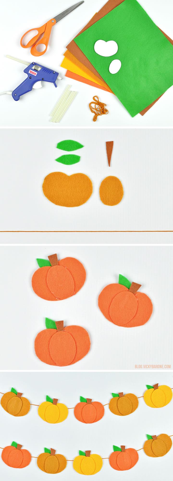 No Sew Felt Pumpkin Garland Vicky Barone