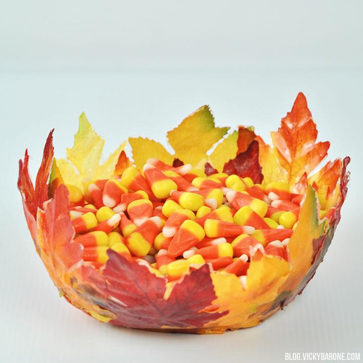 DIY Fabric Mod Podge Leaf Bowl | Vicky Barone