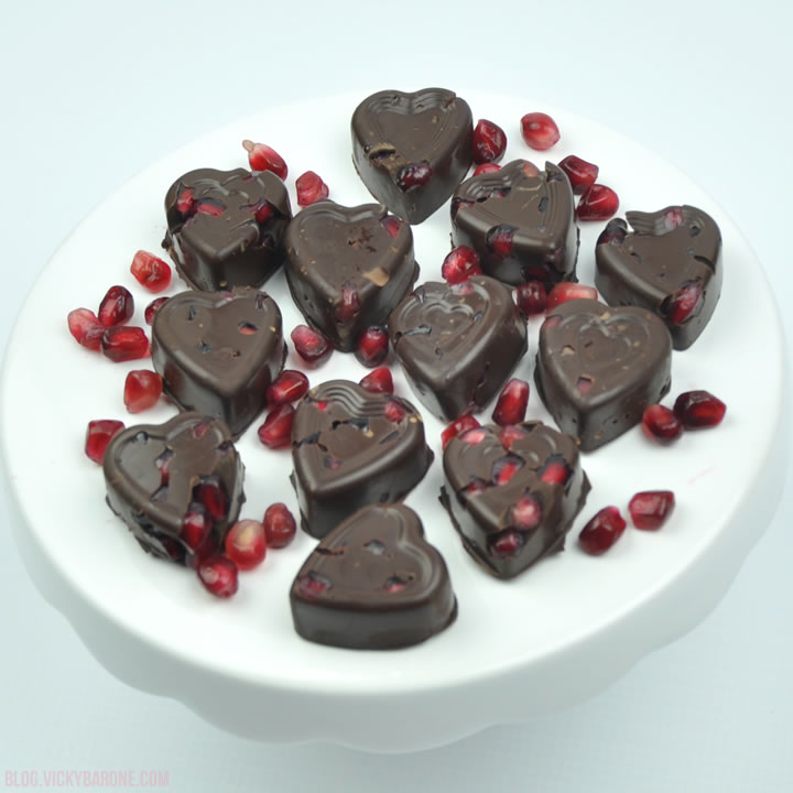 Dark Chocolate Pomegranate Hearts | Vicky Barone