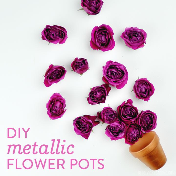 DIY Metallic Flower Pots